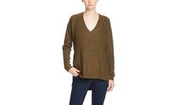 Six Crisp Days Long Sleeve V-Neck Sweater - Olive - Size: Medium/Large
