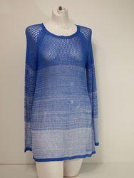 Hannah Women's Ombre Open Knit Sweater - Blue - Size: L