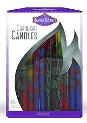 "Majestic Giftware CP246 Handcrafted Hanukkah Candles (45 Pack), 6"", Orange/Yellow/Purple"