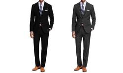 Braveman 2 Pack Men's 2 Pc Suits - Black/Charcoal - Size: 36R x 30W