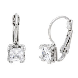 Lesa Michelle 4.00 CTTW Leverback Earrings in 18K - White Gold