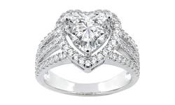 Swarovski Elements Crystal Heart Ring in 18K - White Gold - Size: 6