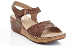 Lady Godiva Women's Comfort Wedge Sandal - Brown - Size: 8