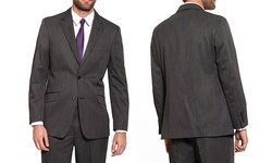 Oxford Republic Men's 2 Button Suit Jacket - Striped Grey - Size: 44L