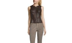 Byron Lars Women's Faux Leather Sleeveless Top - Espresso - Size: 4
