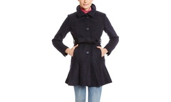 Jessica Simpson Women's Belted Coat with Flounce Hem - Black -Size: Medium