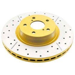 DBA Street Series Gold Cross Drilled & Slotted Front Disc Brake Rotor