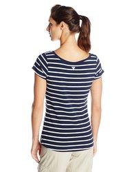 Columbia Women's Reel Beauty II Stripe T-Shirt - C Navy - Size: XL