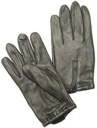 Napa Deerskin Zipper Backed Gloves with Cotton Fleece Lining (Black, XX-Large)