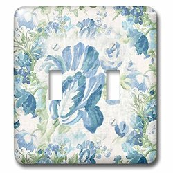 3dRose lsp_194793_2 Print of Victorian Flowers in Blue and Green Double Toggle Switch