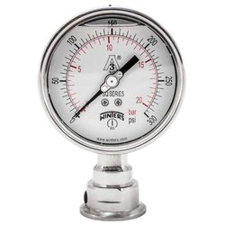 "Winters PSQ Series Aluminum Dual Scale Sanitary Pressure Gauge, 4"" Dial, 0-300 psi/bar Range, +/-1% Accuracy, 1-1/2"" Tri-Clamp Bottom Connection"