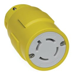 Woodhead 2977 Super-Safeway Connector, Industrial Duty, Locking Blade, 3 Phase, 3 Poles, 4 Wires, NEMA L17-30 Configuration, Rubber, Yellow, 30A Current, 600V Voltage