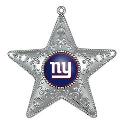 NFL New York Giants Silver Star Ornament, Small, Silver