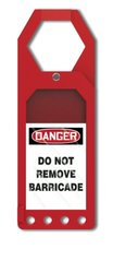 """Accuform Signs 10""""x3-1/2"""" Plastic Secure-Status Tag Holder - Red"""