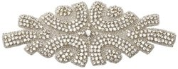 Darice David Tutera Crystal Beaded Applique, 7.7 by 3-Inch, Crystal