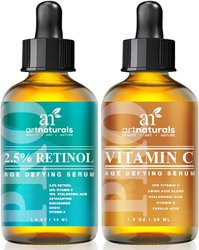 Art Naturals Organic 20% Vitamin C Serum 1.0 oz & 2.5% Vitamin A (Retinol) Serum 1.0 oz - Holiday Gift Set - Best Anti Wrinkle & Dark Circle Remover (Morning & Night Anti Aging Therapy) 975546
