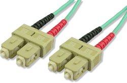 Lynn Electronics SCSC-OM4-20M SC-SC 50/125-10 Gig OM4 Duplex Multimode Fiber Optic Patch Cable, 20-Meter, Aqua