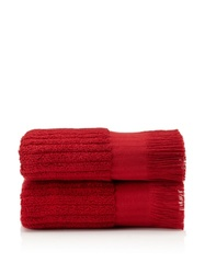 Pure Fiber Set of 2 Ribbed Hand Towels, Cranberry