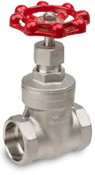 "Sharpe Valves 30276 Series Stainless Steel 316 Gate Valve, Class 200, Non-Rising Stem, Inline, 1"" Socket Weld"