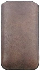 Limited Luxury Cases IH-1206-01 Genuine Leather Pouch with Pull-Out Tab for iPhone 4/4S - 1 Pack - Retail Packaging - Brown
