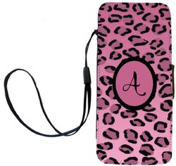 "Rikki Knight Letter ""A"" Initial Light Pink Leopard Print Monogrammed Flip Wallet iPhoneCase with Magnetic Flap for iPhone 5/5s - Light Pink"