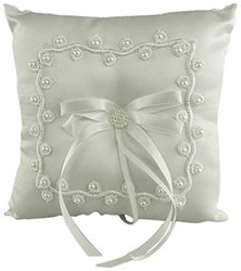Firefly Imports Wedding Ring Bearer Pillow, White, 7-Inch