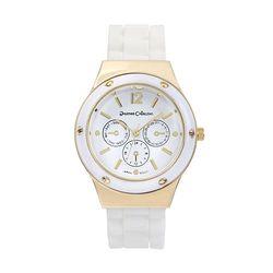 Journee Round Face Quartz Silicone Band Watch - White/Gold
