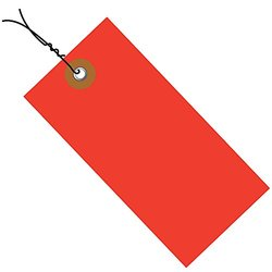"Tyvek  Shipping Tag - Pre-Wired; Red, 6 1/4"" x 3 1/8"", 100/Case"