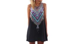 Aztec Print Women's Dress - Black - Size: Medium