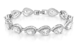 Women's 18K White Gold Swarovski Element Pear Shaped Bracelet - Clear