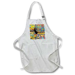 3dRose Traditional Hand-Painted Mexican Pottery Apron - White - Sz: M