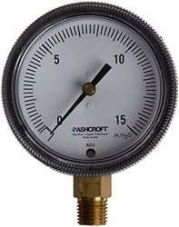 "Ashcroft Type 1490 Glass Filled Polysulfone Low Pressure Diaphragm Gauge, Beryllium Copper, Brass, Polysulfone and RTV Silicone Wetted Material, Brass Socket and Movement, 2-1/2"" Dial Size, 1/4"" NPT Lower Connection, 30/0"" Hg Vac Pressure Range"