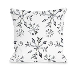 "Bentin Home Decor Silver Snowflake Pattern Throw Pillow by Timree Gold, 18""x 18"", White/Grey"