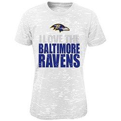 NFL Baltimore Ravens Short Sleeve Shirt - White - Girls L (10/12)