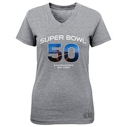 NFL Super Bowl 50 Short Sleeve Crew Neck Tee - Grey - Size: Large 7-16