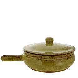 French Home 2.5-quart Saffron Yellow Stoneware Long Handled  Pan With Lid