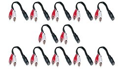 C&E12 Pack, 3.5mm Stereo Female to Dual RCA Male Red & White Audio Adapter Cable, 6 Inch, CNE501319