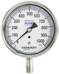 """Ashcroft Duralife Type 1009SW Stainless Steel Case Pressure Gauge with Stainless Steel System, Stainless Steel Bourdon Tube and Socket, PLUS! Performance Dampening System, 3-1/2"""" Dial Size, 1/4"""" NPT Lower Connection, 0-1000psi Range"""