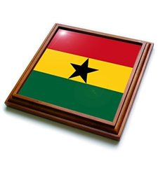 "3dRose 8 by 8"" Ghana Flag Trivet with Ceramic Tile - Brown (trv_31546_1)"
