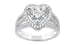 Women's 18K White Gold Plated Brass Crystal Heart Ring - Silver