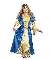 Dream Girl Girl's Renaissance Princess Costume - Blue/Gold  - Medium