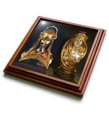 "3dRose trv_180577_1 Image of Nouveau Female Sculptures in Gold Trivet with Ceramic Tile, 8 by 8"", Brown"