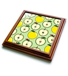 "3dRose trv_185462_1 Green and Golden Half Apple Print Trivet with Ceramic Tile, 8 x 8"", Brown"
