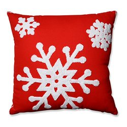"Pillow Perfect Snowflake Square Throw Pillow - Red - Size: 16.5"" x 16.5"""