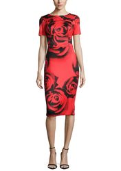 Sable + Zoe Short Sleeve Fitted Midi Cocktail Dress: Red Rose - Size: M