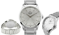 NY London Uptown Men's Bracelet Watch - Silver Band-Silver Dial