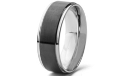 Men's 8mm Two Tone Stainless Steel Grooved Comfort Fit Ring - Size: 11