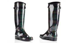 NY VIP Women's Warm Fur Riding Rain Boots - Green - Size: 7