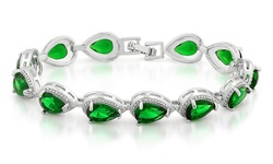 Women's 18K White Gold Swarovski Element Pear Shaped Bracelet - Green