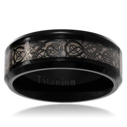 Territory Men's Titanium Celtic Design Inlay Wedding Band - Black - Sz: 11